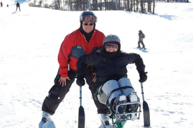 One of our Wonder Woman's passions is being an adaptive ski coach at Greek Peak. She gave me the full experience - including a trip down the bunny slope in a mono-ski,when I tagged along for a story in 2011.