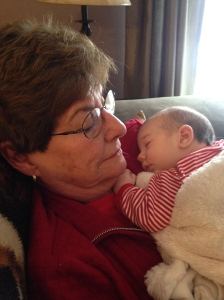 Mumsy with her first great-grandchild, Harper Lee Franklin.