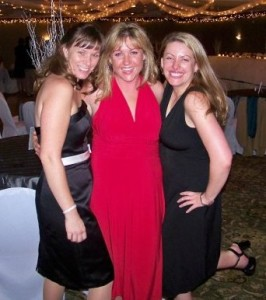 Shenanigans at our friend Kerri's wedding. Katie - stunning in red - with our friend Maureen on the left and yours truly kicking up her heels...